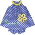 Sweet Baby Girl Dress Set by Rare Editions in Periwinkle Polka Dots with Yellow Trim and Flower with Giant Button Center. Matching Bloomer. Adorable! Available in Sizes 12, 18 and 24 Months...