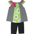 Vibrant Baby Girl Legging Set with Black and White Striped Top with Lime Green Insert Trimmed in Hot Pink and Lime Together with Black and White Polka Dot Leggings. Available in Sizes 12, 18 and 24 Months...