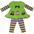 Cute Infant Girl Legging Set with Lime Green Dress with Brown Bow, Striped Sleeves and Purse Appliques with Matching Striped Leggings. Available in Sizes 12, 18 and 24 Months by Rare Editions...