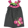 Adorable Black and White Polka Dot Dress with Ribbon Trim at Neckline in Hot Pink , Lime and Black & White and Huge Butterfly Applique at Hem. Very Cute! Available in 2T, 3T and 4T by Rare Editions...