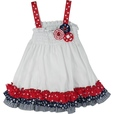 Adorable 4th of July Dress for Infant Girls in White Seersucker with Smocked Bodice, Ribbon Flowers in Red, White and Blue and Red, White and Blue Ruffles at Hem. Includes Bloomer. Cute, Cute Cute! Available in Sizes 12, 18 and 24...