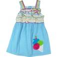 Adorable Girls Dress In Turquoise Seersucker with Tiered Ruffles at Bodice, Rainbow Striped Straps and Bow and Delightful 3D Ice Cream Applique at Hem. Ties at Back. So Cute! Available in Sizes 4, 5, 6 and 6X...