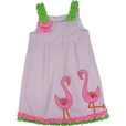 She will Love this Adorable Seersucker Dress in Pink with Lime Green Polka Dot Straps, Two 3D Flamingo Appliques with Tulle and Sequins and Ruffle Trim in Hot Pink and Lime Green at Hem. Fun! Available in Sizes 4, 5, 6 and 6X by...