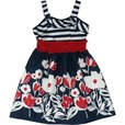 French inspired ? We think so. Cute dress with navy and white striped bodice, red elastic waist and cotton skirt with red and white flowers on a navy background. Tres Chic! Great for the 4th. Available in sizes 7, 8, 10, 12, 14...