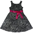 Adorable Zebra Print Dress with Bright Fuchsia Bow. Zips at Back. Bring Something Wild to the Party! Available to Sizes 7, 8, 10, 12, 14 and 16 by Rare Editions ...