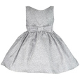 This Jacquard Girls Dress is Beautiful in Two Tone Grey with all-over Rose Pattern with Bow in Front and Ties in Back. Fully Lined and Tulle Petticoat for Fullness. Looks like an Audrey Hepburn Style. Classic! Available in Size 6...