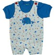 Adorable Baby Boy Romper Set in White with All-over Under the Sea Print and Whale Applique. Buttons at Shoulders, Matching Royal Blue Tee with Snaps . Too Cute! Available in Sizes 6 and 9 Months. More Sizes in Infant Boy...
