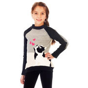 This adorable colorblock long sweatshirt has an extensive bulldog applique. Ribbed neckline and hem. Pair with our paw leggings to make one, cute outfit!  Available in sizes 4, 5, 6 by Limeapple