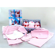 Baby Girl Gift Sets, Six piece set of baby clothing cupcakes from Baby Blooms are actually cleverly disguised play sets and bibs for girls.  The ribbon-tied presentation box contains two pairs of pink and white candy striped trousers (pull-on) and co-ordinating long-sleeved tees, one pink, one white and one each: pink bib, white bib.  So Cute!  Available in Sizes 0-6 and 6-12 months. NOTE: 100% cotton, not flame-resistant. Not intended as sleepwear
