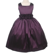 Special Occasion Dresses - Beautiful Toddler Girl Dress in Plum with Hand-rolled Flower Cumber-band that Ties at Back, Zip Closure, Lined and Crinoline Slip add Fullness.  Great for Holidays, Weddings or any Special Occasion!  by Sweet Kids. Available in Sizes 2, 3, and 4 (More sizes available in Young and Tween Girl.  View Size Chart for Sizing. Pair it with our Black Velvet Bolero Jacket SKTG-C17