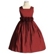 Flower Girl Dresses - Beautiful Toddler Girl Dress in Ruby Red with Hand-rolled Flower Cumber-band that Ties at Back, Zip Closure, Many Layers for Fullness.  Great for Holidays, Weddings or any Special Occasion!  by Sweet Kids. Available in Sizes 2, 3, and 4 (More sizes available upon request, may take up to 10 days delivery time) View Size Chart for Sizing. Pair it with our Black Velvet Bolero Jacket SKTG-C17