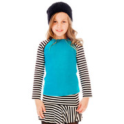 Cute solid top with striped sleeves and zippers that reveal the solid color underneath in fabulously soft cotton (97%). Goes great with black leggings or our matching striped skirt!  Makes a fun outfit!  Available in sizes 7/8 and 10/12. (see also in 4, 5, 6)