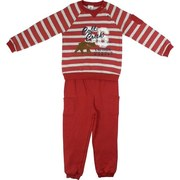 Toddler Boy Clothes - Warm Toddler Boy Fleece Set with Three Button Snap Sweat Shirt in Rust and Grey Stripes with Cold Creek Expeditions Screen Print and Fuzzy Bear. Pull On Pants with two Pockets.  Ribbed Cuffs. by Absorba Available in Sizes 2T, 3T and 4T.
