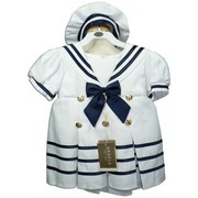 Beautiful Infant Girl Sailor Dress with Brass Buttons, Navy Blue Stripes and Bow on White Satin Dress, Lined, Zip and Tie Back, White Hat with Navy Stripe.  Very Cute!  by Fouger. Available in Sizes 12, 18 and 24 months.