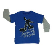 Great Toddler Boys L/S Tee with Snowboard Screen, Ribbed Long Sleeves, Side Vents. Back is a Bit Longer than the Front.  100% Soft Cotton.  Available in Sizes 2T, 3T and 4T.   by American Vintage