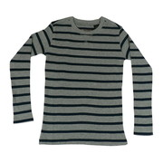 Tween Boys Waffle Stripe Thermal Top in Grey and Navy.  Great with Jeans and Super Soft & Warm!  Available in Sizes 8, 10 and 12 by American Vintage