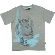 Great Boys T-Shirt with Hand Drawn Hippo Screen Print on Grey Background.  By American Vintage  Available in Sizes 8, 10, 12 (More sizes available in Toddler Boy and 4-7)