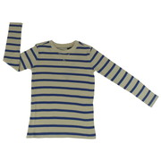 Fashionable Boys Waffle Stripe Thermal Shirt in Cream and Navy.  Great with Jeans. Super Soft & Warm!  Available in Sizes 4, 5, 6 and 7 by American Vintage