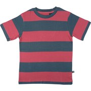 Toddler Boy Rugby Stripe Tee by American Vintage in Navy and Red with Re-enforced Neckline in 100% Soft Cotton.  Available in Sizes 2T, 3T, 4T (More Sizes in 4-7 and 8-12)