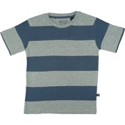 Boys Rugby Stripe Tee by American Vintage in Navy and Grey with Re-enforced Neckline. 100% Soft Cotton.  Available in Sizes 4, 5, 6 and 7 (More Sizes in Toddler and 8-12)