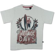 Boys White Surfer Tee Sizes 4-7 by American Vintage with Re-enforced Neckline and Washed Look Screen Print that Gives it a Worn Look.  Super Soft 100% Cotton.  Available in Sizes 4, 5, 6 and 7 (More Sizes in Toddler and 8-12)