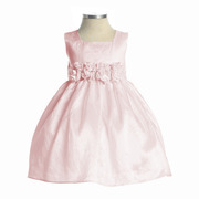 Perfect Baby Girl Dress for Any Dressy Occasion with Square Neck, Taffeta Tea-Length Dress with Hand-Rolled Flower Cumber-band, Zip Closure, Tie Back and Netted Petti-Skirt for Fullness.  Fully Lined.  Made in the USA by Sweet Kids. Available in Sizes 6/9, 12, 18 and 24 Months. Perfect for Weddings, Parties or any Special Occasion!  In Stock in Ivory and Pink Sizes 12, 18 and 24 Months *Available in many colors and sizes. Give us a call!