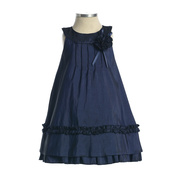 Infant Girl Satin Dress, Beautiful Light Weight Ruffle Taffeta A-Line Dress with Gathered Top and Ruffle Trim on Bottom, Flower and Ribbon Accent, Zip Closure.  Elegant Sheen!  Made in the USA by Sweet Kids.  Available in Sizes 18m, 24m.  Perfect for Parties, Weddings or any Special Occasion!