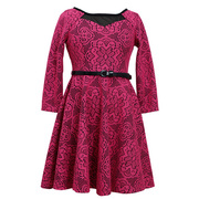 This cute tween skater dress has a floral patterned fuchsia lace bonded to a black dress with a mesh illusion at neckline.  Zips in back and has a black belt.  Available in sizes 7, 8, 10, 12, 14 & 16 by Bonnie Jean