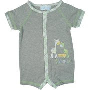 Sweet Baby Boy Romper by Baby Headquarters in Grey with Green and Grey Plaid Trim and Cute Embroidered Giraffes as Best Friends. Soft and Comfy!  Available in Sizes 0/3, 3/6 and 6/9 Months