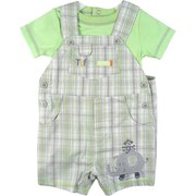 Cute Baby Boy Shortall Set by Baby Headquarters has a Grey and Green Plaid Shortall with 3 Front Pockets, Elephant and Monkey Applique Together with a Green Onesie with Double Stitching at Neck and Sleeves.  Super Cute!  Available in Sizes 0/3, 3/6 and 6/9 Months