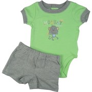 Cute Baby Boy Short Set by Baby Headquarters with Lime Green Onesie with Grey Trim and Monkey Applique and Embroidery Together with Pull-On Shorts with Faux Fly and Two Pockets.  Adorable!  Available in Sizes 0/3, 3/6 and 6/9 Months