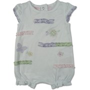 Cute Baby Girl Romper by Baby Headquarters in White with Colorful Appliques and Ruffle Strips. Cool and Comfy for the Summer!  Available in Sizes 0/3, 3/6 and 6/9 Months