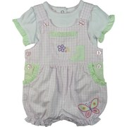 Adorable Baby Girl Romper Set by Baby Headquarters with Pink and White Gingham Check Romper with Flower and Butterfly Appliques, Green Plaid Trim Around Pockets and Flower Buttons. Underneath There is a White Creeper with Plaid Trimmed Sleeves and Pink Neckline.  So Sweet!  Available in Sizes 0/3, 3/6 and 6/9 Months