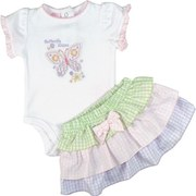 Adorable Baby Girl Skirt Set by Baby Headquarters with Pink, Green, and Lilac Gingham Check Tiered Skirt with a Bow and a Flower and Butterfly Appliqued and Embroidered Creeper that Says Butterfly Kisses.  So Sweet!  Available in Sizes 0/3, 3/6 and 6/9 Months