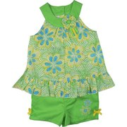 Cute Infant Girl Short Set by Baby Headquarters with Cotton Floral Top with 3-D Flower at Neck with Ribbon Streamers. Lime Green Pull-on Shorts with Half-Elastic Back, Embroidered Flowers and Yellow Bows.  Just in time for Summer!  Available in Sizes 12, 18 and 24 Months