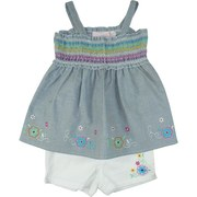 Sweet Infant Girl Short Set by Baby Headquarters with Denim Look Top with Colorful Smocking and Embroidered Flowers Along the Hemline Together with White Shorts with Half-Elastic Back and Flower Embroidery. Great for Those Hot Summer Days!  Available in Sizes 12, 18 and 24 Months