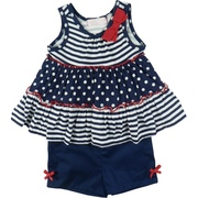 Cute Infant Girl Patriotic Short Set by Baby Headquarters with Tiered Top in Navy and White with Red Trim and Bow. Navy Shorts Have Half Elastic Back and Red Bows. Ring in the 4th of July!  Available in Sizes 12, 18 and 24 Months