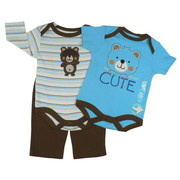 Sweet Baby Boy 3 Piece Pant Set with One LS Striped Bodysuit and One SS Solid Color Bodysuit that Have Lap Shoulders, Either an Applique or Embroidered Animal and Co-ordinating Pull-on Pants.  100% Soft Cotton!  Available in Sizes 03, 3/6 and 6/9 Months in Brown Bear and Red Dog by Bon Bebe