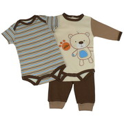Cute Baby Boy 3 Piece Pant Set with One LS Bodysuit with Embroidery and Applique and One SS Bodysuit together with Pull-on Pants with Cuffs.  Available in Sizes 0/3, 3/6 and 6/9 Months in Brown Bear and Blue Puppy by Bon Bebe