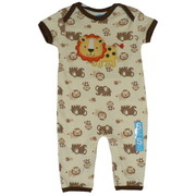 Darling Baby Boy Non-Footed Coverall in Two Delightful Patterns: All-Over Puppy Print (Blue) with Appliqued Puppy or  All-Over Safari Print (Tan) with Appliqued Lion, has Lap Shoulders and Snap Legs.  100% Soft Cotton!  Available in Size 0/3, 3/6 and 6/9 Months. by Bon Bebe