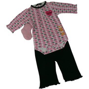 These Sweet Baby Girl 3 Piece Pant Sets come with a Long-Sleeved Creeper  with Dainty Pin Tucks and Pretty Applique along with Coordinating Pants with Lettuce Hem and a Pair of Socks.  Very Cute!  Available in Fuchsia Floral and Black Hearts in Sizes 0/3, 3/6 and 6/9 Months.  by Bon Bebe