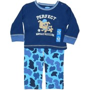Infant Boy Pant Set By Bon Bebe with Thermal Shirt with Perfect Little Champ Transfer with Spotted Pup. Top Snaps at Shoulder. Pants are in Blue Camouflage.  Very Cute!  Available in Sizes 12, 18 and 24 Months