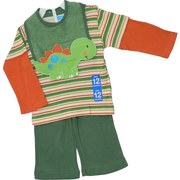 Infant Boy Pant Set by Bon Bebe with 3 Pieces Consisting of a Striped Long Sleeved Shirt with Snaps at Shoulder, Cotton/Terry Bib with a Dinosaur Form and Green Pull-on Pants.