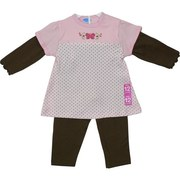 Cute Infant Girl Legging Set By Bon Bebe with Pink Dress with Brown Polka Dotted Front, Butterfly and Flower Appliques and Brown Sleeves with Lettuce Hem.  Snaps at Shoulders.  Matching Brown Leggings with Elastic Waist.  Available in Sizes 12, 18 and 24 months.