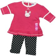 Infant Girl Legging Set By Bon Bebe with Hot Pink Top with 3/4 Sleeves, White Stripes, Ruffle Hem and Fuzzy Bunny Applique and Embroidery. Snaps in Back. Black Leggings with Flower Transfer Pattern.  Available in Sizes 12, 18 and 24 Months