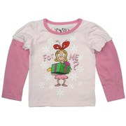 Infant Girl Holiday Tops - Darling Infant Girl Two-Fer Tee Shirt with Light Pink Top with