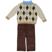 Boys Clothes - Sharp Toddler Boy 3 Pc Sweater Set with Brown Argyle Sweater, Light Blue Turtle Neck and Brown Corduroy Pants.  Available in Sizes 2T, 3T and 4T. See Matching Brother Sizes 5 and 6 by B.T. Kids