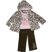 Adorable Girls Jacket Set 4-6X with Leopard Print Swing Jacket in Brown and Pink Spots on Cream Background and Pink Buttons, Pink Long Sleeve Shirt with Brown Rolled Neckline and I