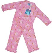 Girls Pajamas by Baby Togs - Sweet Pink Girls Pajamas in fun Dr Seuss Pattern with Horton.  Fuschia Ruffle Trim and Flower Pockets.  Flame Resistant.  Super Soft and Cute Too!  Available in Sizes 2T, 3T and 4T