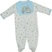 Newborn Boy Clothes by Babyworks - Adorable Baby Boy Coverall in 100% Cotton with Cars, Trains, Rockets and Rocking Horses Pattern with Train Appliqued Bib and